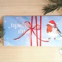 Karácsonyi ajándék, Pénzátadó boríték, utalvány átadó, céges ajándék, pénz, képeslap, egyedi, személyre szóló, madár, hó, Dekoráció, Karácsonyi, adventi apróságok, Naptár, képeslap, album, Ünnepi dekoráció, Ajándékkísérő, képeslap, Ajándékkísérő, Igényes egyedi, személyre szóló Pénz-Átadó zsebes boríték szalaggal átkötve.  A Szöveg változtatható..., Meska