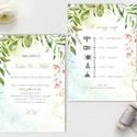 Greenery Meghívó, Geometriai Esküvői meghívó, Természetközeli, natúr, vízfesték, Esküvői kártya, virágos, vadvirág, zöld, Esküvő, Naptár, képeslap, album, Meghívó, ültetőkártya, köszönőajándék, Képeslap, levélpapír, Minőségi Esküvői Virágos Meghívó  * MEGHÍVÓ CSOMAG: - Meghívó lap, DUPLA oldalas nyomtatással: kb.: ..., Meska