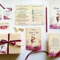 Kinyithatós meghívó, burgundy, őszirózsa, őszi, meghívó, Rusztikus meghívó, virágos, esküvői meghívó, egyedi pár grafika, Esküvő, Naptár, képeslap, album, Meghívó, ültetőkártya, köszönőajándék, Esküvői dekoráció, Minőségi Virágos Esküvői  Meghívó  * KINYITHATÓS MEGHÍVÓ BORÍTÉKKAL * méret kb. A6  * SZERKESZTÉSI D..., Meska