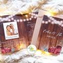 Kinyithatós meghívó, saját fotóval, burgundy, őszirózsa, meghívó, Rusztikus meghívó, virágos, esküvői meghívó, egyedi, Esküvő, Naptár, képeslap, album, Meghívó, ültetőkártya, köszönőajándék, Esküvői dekoráció, Minőségi Kinyithatós Virágos Esküvői  Meghívó Saját Fotóval  * KINYITHATÓS MEGHÍVÓ BORÍTÉKKAL * mére..., Meska