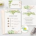 Greenery Esküvői meghívó, geometrikus, pasztell, Natúr meghívó, natur, zöld levelek, természetközeli esküvő, arany, Esküvő, Naptár, képeslap, album, Meghívó, ültetőkártya, köszönőajándék, Esküvői dekoráció, Minőségi Greenery Esküvői  Meghívó  * MEGHÍVÓ CSOMAG BORÍTÉKKAL: - 1.  -Meghívó lap, egy oldalas: kb..., Meska