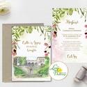 Greenery Esküvői meghívó, sorg villa, saját rajz, egyedi meghívó, festmény, natúr, zöld levelek, természetközeli,, Esküvő, Naptár, képeslap, album, Meghívó, ültetőkártya, köszönőajándék, Esküvői dekoráció, Minőségi Greenery Esküvői Meghívó szett  1 lapos meghívó dupla oldalas nyomtatással borítékkal együt..., Meska