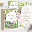 Greenery Esküvői meghívó, sorg villa, egyedi rajz, festmény, helyszín,natur, zöld levelek, természetközeli esküvő, arany, Esküvő, Naptár, képeslap, album, Meghívó, ültetőkártya, köszönőajándék, Esküvői dekoráció, Minőségi Greenery Esküvői  Meghívó  * MEGHÍVÓ CSOMAG BORÍTÉKKAL: - 1.  -Meghívó lap, egy oldalas: kb..., Meska