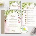 Greenery Esküvői meghívó, natur, zöld levelek, természetközeli esküvő, arany, levélkoszorú, erdei esküvő, bohém, Esküvő, Naptár, képeslap, album, Meghívó, ültetőkártya, köszönőajándék, Esküvői dekoráció, Minőségi Greenery Esküvői  Meghívó  * MEGHÍVÓ CSOMAG BORÍTÉKKAL: - 1.  -Meghívó lap, egy oldalas: kb..., Meska
