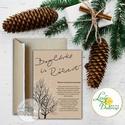 Téli Meghívó, Rusztikus esküvői meghívó, havas, hó, karácsony, karácsonyi, tél, hó, havas, fa, havas fa, barna, Dekoráció, Karácsonyi, adventi apróságok, Ünnepi dekoráció, Ajándékkísérő, képeslap, Minőségi Téli Esküvői Meghívó  * MEGHÍVÓ CBORÍTÉKKAL: - 1. -Meghívó lap, egy oldalas: kb.: 9.5cm x 1..., Meska