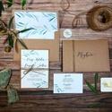 Greenery Meghívó, zöld Esküvői meghívó, oliva, eukaliptusz, mediterrán, zöld leveles, natúr meghívó, természetközeli
