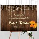 Esküvői Poszter A3, Esküvői kép, Esküvő Dekor, Esküvői felirat, Vintage, Elegáns, Fa, natúr, égő, égősor, Esküvő, Dekoráció, Esküvői dekoráció, Kép, A/3-as Esküvői Poszter, bármilyen egyszerű felirattal, keret nélkül.  Tökéletes kellék & Dekor Elegá..., Meska