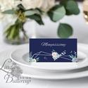 Esküvői ültetőkártya, party kártya, Esküvői ültető, geometrikus, geometriai, sötétkék, kövirózsa, virágos, ezüst, Esküvő, Naptár, képeslap, album, Meghívó, ültetőkártya, köszönőajándék, Esküvői dekoráció, Igényes, sátras, két oladalas asztali ültetőkártya  MÉRETE összehajtva: kb: 4.5x9.2cm  * SZERKESZTÉS..., Meska