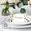 Esküvői ültetőkártya, party kártya, Esküvői ültető, virágos, natúr, rusztikus, Esküvő, Naptár, képeslap, album, Meghívó, ültetőkártya, köszönőajándék, Esküvői dekoráció, Igényes, sátras, két oladalas asztali ültetőkártya  MÉRETE összehajtva: kb: 4.5x9.2cm  * SZERKESZTÉS..., Meska