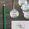 Pálinka, Kör kártya, kör ajándékkísérő, esküvői dekoráció, címke, felirat, kör, kártya, greenery, leveles, pálma,, Esküvő, Meghívó, ültetőkártya, köszönőajándék, Esküvői dekoráció, Köszönetkártya, ajándékkísérő lyukasztva szalaggal kötve  * MÉRET: Átmérő: 4.2cm Választható méretek..., Meska