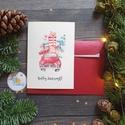 Autós Karácsonyi Képeslap, Retro, auto, bogár, fenyő, adventi Kártya, Vintage Karácsonyi üdvözlőlap, Vintage, fenyőfa, Otthon & lakás, Dekoráció, Ünnepi dekoráció, Karácsonyi, adventi apróságok, Ajándékkísérő, A/6-os méretű Igényes kinyitható Egyedi Karácsonyi képeslap, borítékkal.  Kinyitható, belül üres saj..., Meska