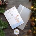 Karácsonyi Képeslap, Nyuszis, egyedi Képelap,s Karácsonyi, Karácsonyi üdvözlőlap, nyuszi, nyúl, állatos, névre szóló, Otthon & lakás, Dekoráció, Ünnepi dekoráció, Karácsonyi, adventi apróságok, Ajándékkísérő, A/6-os méretű Igényes Egyedi Karácsonyi képeslap, borítékkal.  Grafika: saját festményemről  Más fel..., Meska