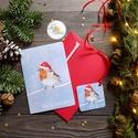 Karácsonyi Képeslap, Állatos, Madár, Madaras, Adventi, Karácsonyi üdvözlőlap, Ünnepi képeslap, Mikulás, Otthon & lakás, Dekoráció, Ünnepi dekoráció, Karácsonyi, adventi apróságok, Ajándékkísérő, A/6-os kinyitható képeslap, borítékkal + ajándékkísérővel  * Képeslap: kinyitható, belül üres saját ..., Meska
