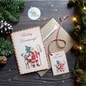 Karácsonyi Képeslap, vinatge, karácsonyi üdvözlőlap, ünnepi képeslap, posta, mikulás, régi, Otthon & lakás, Dekoráció, Ünnepi dekoráció, Karácsonyi, adventi apróságok, Ajándékkísérő, Karácsonyi képeslap, borítékkal + ajándékkísérővel  KIVITELEZÉS: Kinyithatós: belül üres a saját, ké..., Meska