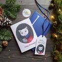 Karácsonyi Képeslap, Vintage karácsony, Állatos, Adventi üdvözlőlap, Ünnepi lap, hó, klasszikus, cica, macska, Otthon & lakás, Dekoráció, Ünnepi dekoráció, Karácsonyi, adventi apróságok, Ajándékkísérő, Minőségi Kinyitható Képeslap + AJÁNDÉKKÍSÉRŐ  KÉPESLAP KIVITELEZÉS: Kinyithatós: belül üres a saját,..., Meska