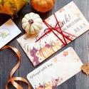 Pénzátadó boríték, Őszi esküvő, Nászajándék, Gratulálunk képeslap, Esküvői Gratuláció, őszi dekoráció, őszies, Pénzátadó boríték - szalaggal kötve +kísér...