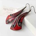 Piros - fekete rekeszzománc fülbevaló, piros fülbevaló, tűzzománc fülbevaló, fekete füli