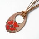 Pipacs virág tűzzománc nyaklánc, pipacsos ékszer nyaklánc, mezei virág medál, Ékszer, Ékszerszett, Mindenféle mezei és kerti virágokkal díszített egyedi kézzelkészült tűzzománc nyaklánc.  A 5  x 3 cm..., Meska