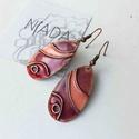 Rózsaszín, lila, bordó lepkeszárny rekeszzománc fülbevaló, cirbolya tűzománc, tűzzománc fülbevaló, türkiz fülbevaló, Ékszer, Fülbevaló, Lila - rózsaszín - bordó színű természet ihlette díszítésű egyedi lógós fülbevaló rekeszzománc eljár..., Meska
