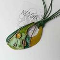 Zöld lepkeszárny cirbolya tűzzománc, rekeszzománc nyaklánc, Ékszer, Nyaklánc, Medál, Zöld színű lepkeszárny ihlette díszítésű egyedi nyaklánc, rekeszzománc eljárással készítve. Kb:5 x 3..., Meska