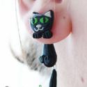 Zöld szemű cica macska pár, Ékszer, Fülbevaló, Eladó a képen látható cicapár. Ahogy látszik a képen is, aranyosan kapaszkodnak a füledbe. Feje búbj..., Meska