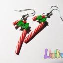 Csíkos cukorpálca fülbevaló, Ékszer, Fülbevaló, Egy kis karácsonyi hangulatidézés a nagy készülődésben, bevásárlásnál vagy valakinek ajá..., Meska