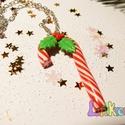Csíkos cukorpálca medál, Ékszer, Nyaklánc, Egy kis karácsonyi hangulatidézés a nagy készülődésben, bevásárlásnál vagy valakinek ajá..., Meska