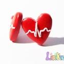 EKG-görbe szív fülbevaló, Ékszer, Fülbevaló, Orvosoknak és egészségügyi dolgozóknak remek ajándék. Hőre keményedő gyurmából készült. 925 Sterling..., Meska