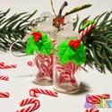 Cukorpálcás üveg fülbevaló, Ékszer, Nyaklánc, Ínycsiklandó kis cukorpálcák picike 2 cm magas üvegecskében a karácsonyi hangulat megalapozá..., Meska