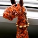 Narancssárga zsiráf , Dekoráció, Játék, Otthon, lakberendezés, Plüssállat, rongyjáték, Anyaga: test, fej - kötőfonal (narancssárga-barna), vatelin, szemek - műanyag-gyöngy, fülek - ..., Meska