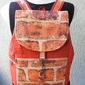 Textil hátizsák tégla mintázatú anyagból, Táska, Hátizsák, Válltáska, oldaltáska, Varrás, Készleten lévő, azonnal rendelkezésre álló termék (a fotón az adásvétel tárgyát képező konkrét dara..., Meska