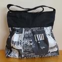 Fekete újságmintás táska, Ballagás, Táska, Szatyor, Válltáska, oldaltáska, Varrás, Praktikus városba járós táska, minden elfér benne amire szükség van. Szövetből és designer anyagból..., Meska