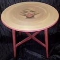 Marilyn Monroe kerek asztal , Bútor, Asztal, '60-as '70-es évek beli lakkozott asztalt gondoltam újra, melyet krétafestékkel festettem, waxoltam ..., Meska