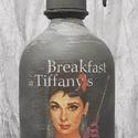 Audrey Hepburn szódásüveg, Dekoráció, Otthon, lakberendezés, Asztaldísz, Krétafestékkel festett, decoupage technikával díszített, matt lakkal kezelt szódásüveg dekorációs cé..., Meska