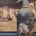 Marilyn Monroe szódásüveg, Dekoráció, Otthon, lakberendezés, Asztaldísz, Krétafestékkel festett, decoupage technikával díszített, matt lakkal kezelt szódásüveg dekor..., Meska