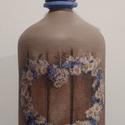 Szíves szódásüveg , Dekoráció, Otthon, lakberendezés, Asztaldísz, Krétafestékkel festett, decoupage technikával díszített, matt lakkal kezelt szódásüveg dekor..., Meska