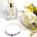 Rózsaszín Áttetsző Lila Ezüst Kristály Üveg Gyöngy Karkötő - Állítható, Memóriadróton, Ékszer, Esküvő, Karkötő, Esküvői ékszer, Ékszerkészítés, Gyöngyfűzés, gyöngyhímzés, RSP designs Handmade - Gyöngy Karkötő ♡ LEÍRÁS ✰ Gyönyörű, csillogó csiszolt kristály üveg gyöngy k..., Meska