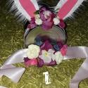 Húsvétváró szett, Baba-mama-gyerek, Ruha, divat, cipő, Hajbavaló, Öv, Ékszerkészítés, A gyermekeknek készült húsvétváró szett egy virágokkal díszített nyuszifüles hajráfból és egy hozzá..., Meska