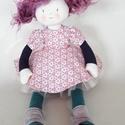 Pippi baba édeskedves, Baba-mama-gyerek, Dekoráció, Játék, Baba, babaház, 40 cm hosszú, súlya 200 gramm teste pamut, puff töltelék anyaggal töltve, ruhája pamut vászon..., Meska