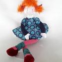 Pippi baba - kócos vörös, Baba-mama-gyerek, Dekoráció, Játék, Baba, babaház, 40 cm hosszú, súlya 200 gramm teste pamut, puff töltelék anyaggal töltve, ruhája pamut vászon..., Meska