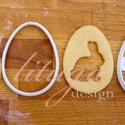 """Húsvéti sütemény kiszúró forma  - Tojás alakban kivágott nyuszi, Konyhafelszerelés, Karácsonyi, adventi apróságok, Fotó, grafika, rajz, illusztráció, Mindenmás, Húsvétra készült tojásformájú sütemény kiszúró / szaggató, mellyel a hagyományos """"ablakos"""" linzert ..., Meska"""