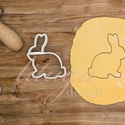Nyúl süteménykiszúró, nyuszi körvonal - Húsvéti sütemény linzer keksz kiszúró forma, Húsvétra készült nyuszi alakú sütemény kisz...