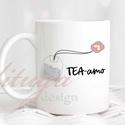 """Tea-amo teás bögre - Ajándék ötlet teakedvelőknek (TEA03), Konyhafelszerelés, Anyák napja, Férfiaknak, Bögre, csésze, """"tea-amo"""", egy kedves szójáték az olasz """"szeretlek"""" szóba csempésztük bele a tea szót. Egyedi teás b..., Meska"""