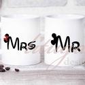 Bögre pároknak Mr és Mrs (WED02), Férfiaknak, Esküvő, Szerelmeseknek, Nászajándék, Gyermekkorunk klasszikus kedves egérpárosa ihlette ezt a 2 db fehér kerámia bögrét, kedves ötlet pár..., Meska
