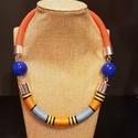 Orange nyaklánc , Ékszer, Nyaklánc, Ékszerkészítés, Viaszolt zsinórral, és fémszállal tekert nyaklánc.  A narancssárga, és a kék két-két  árnyalatában ..., Meska