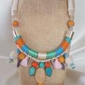Colourful nyakék , Ékszer, Nyaklánc, Ékszerkészítés, Igazi nyári színorgia! <3  Selyem,és viaszos zsinórral,és fém szállal tekertem,üveg, fa,és műanyag ..., Meska