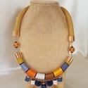Ősz a kékben nyakék , Ékszer, Nyaklánc, Ékszerkészítés, A kékkel megbolondított őszi nyakláncomat tovább gondoltam,és született egy nyakék verzió is.  Sely..., Meska