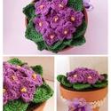Tavaszi lilaság-Horgolt Fokföldi ibolya cserépben, Dekoráció, Otthon, lakberendezés, Kaspó, virágtartó, váza, korsó, cserép, Horgolás, Horgolt, cserepes, Fokföldi ibolya. Az általam horgolt virágokat és leveleket szintén saját kezűleg..., Meska