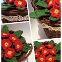 Szeretettel-Horgolt Primula kosárban, Dekoráció, Otthon, lakberendezés, Horgolás, Horgolt Primula piros színben, kosárban. Az általam horgolt virágokat és leveleket szintén saját ke..., Meska