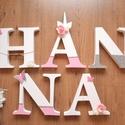 """Unikornis """"HANNA"""" habbetűk, Baba-mama-gyerek, Gyerekszoba, Baba falikép, Mobildísz, függődísz, Polisztirol habból készült, egyedileg gyártott, kézzel festett baba vagy gyermek szoba dekorác..., Meska"""